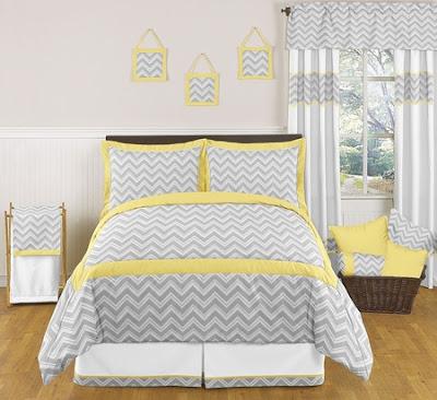 Chevron Gray and Yellow Bedding Set