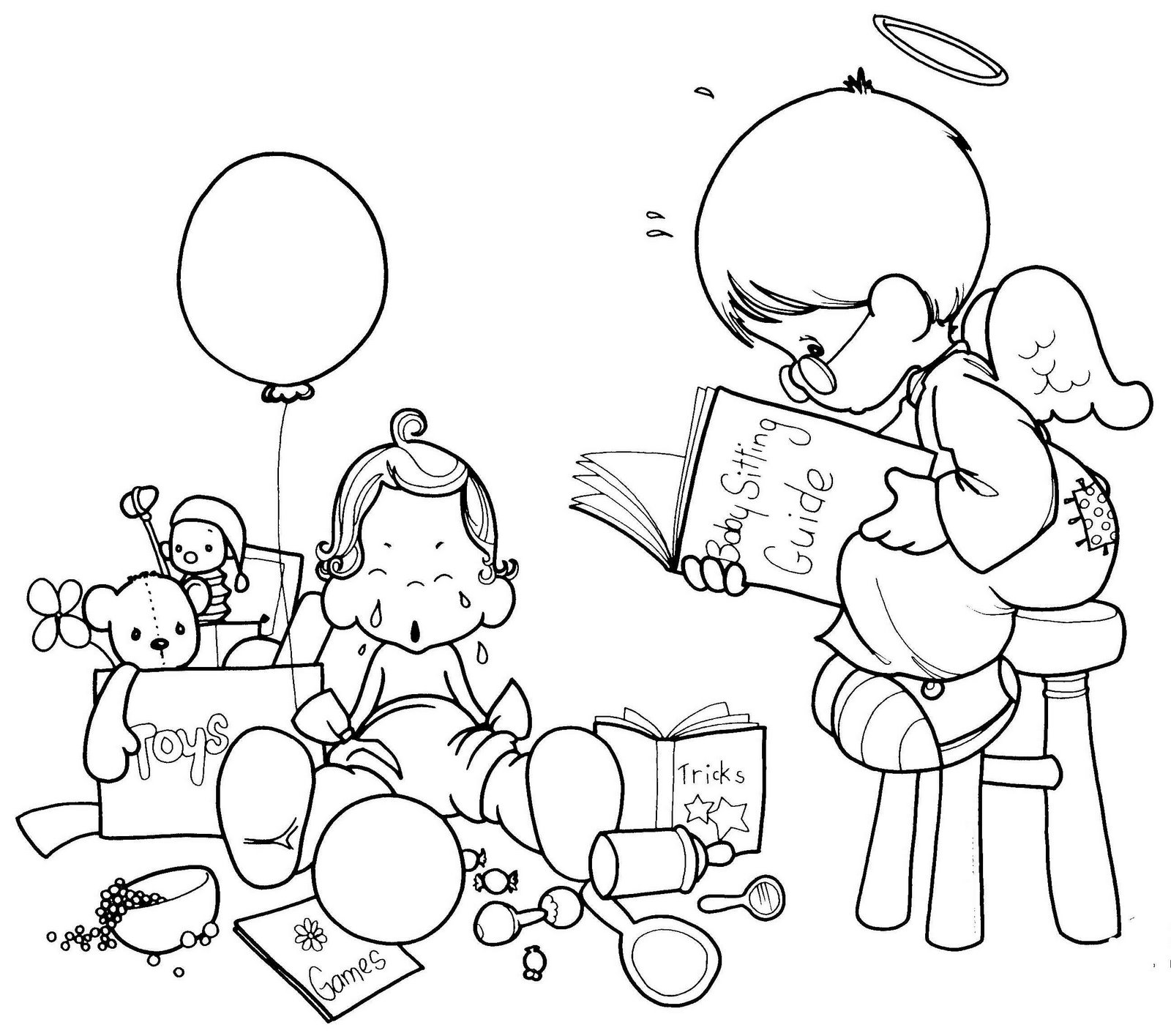 Drawings of angel precious moments coloring child coloring for Precious moments angel coloring pages