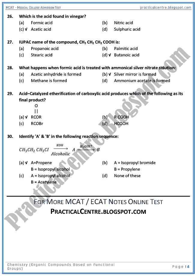 mcat-chemistry-organic-compounds-based-on-functional-groups-mcqs-for-medical-college-admission-test