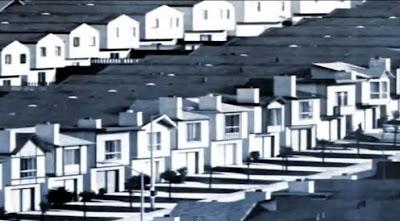 housing development estate, identical houses, white