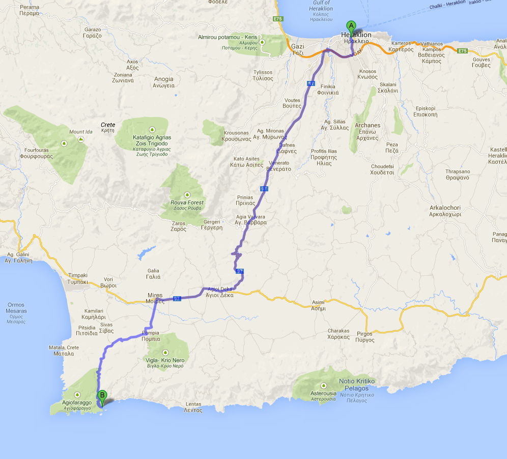 Map with the trip from Heraklion to kaloi limenes (good ports)