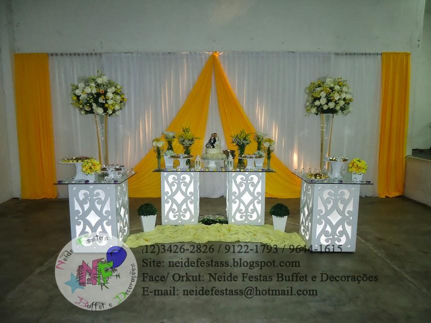 Neide Festas Buffet e Decorações Casamento Amarelo e Branco