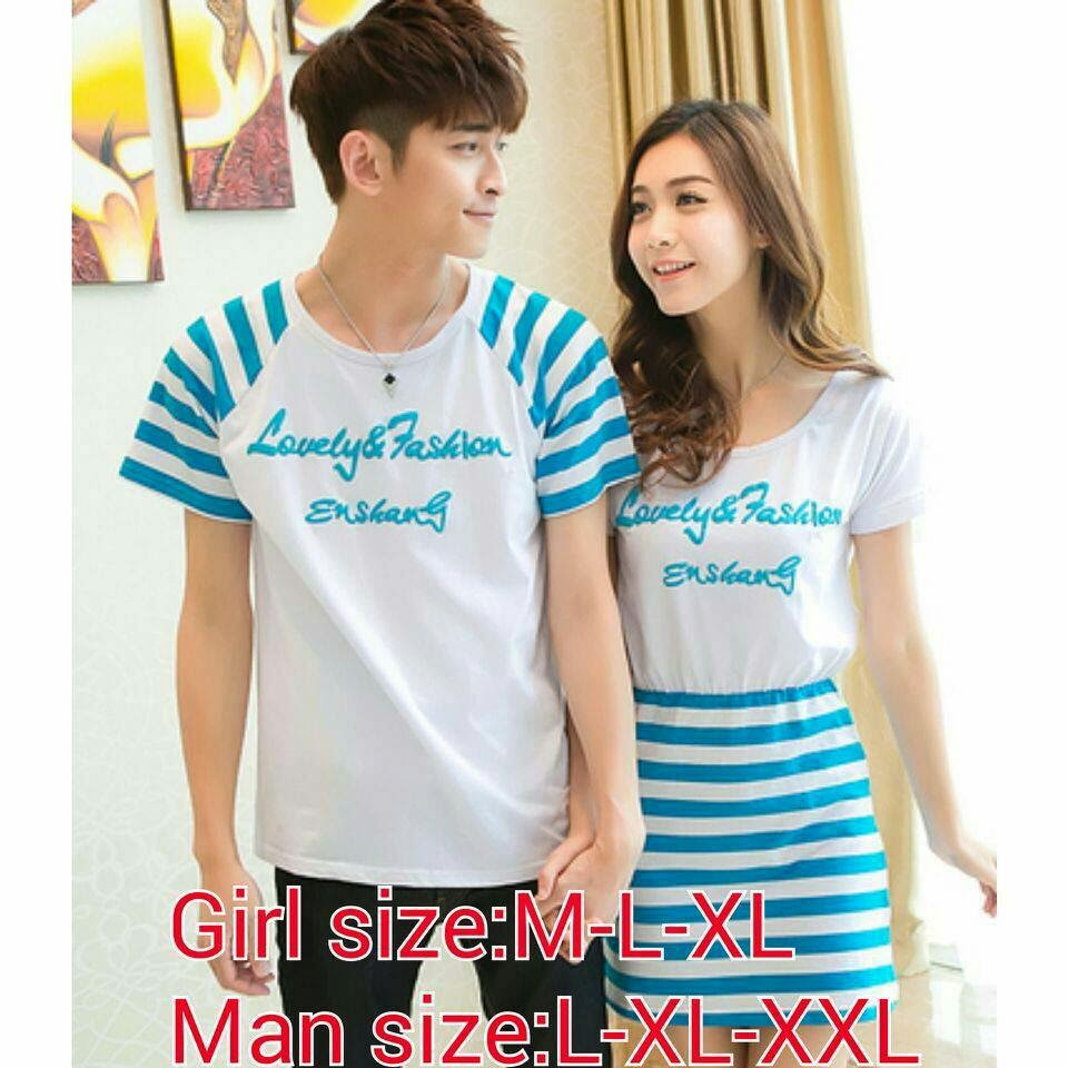 Baju Kaos Couple Warna Biru