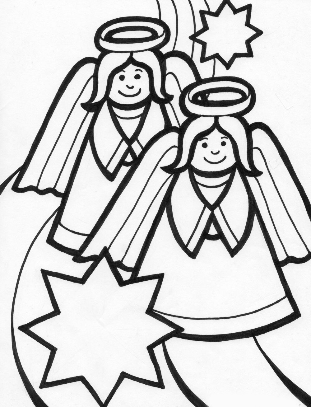 Christmas Angel Coloring Pages Team colors