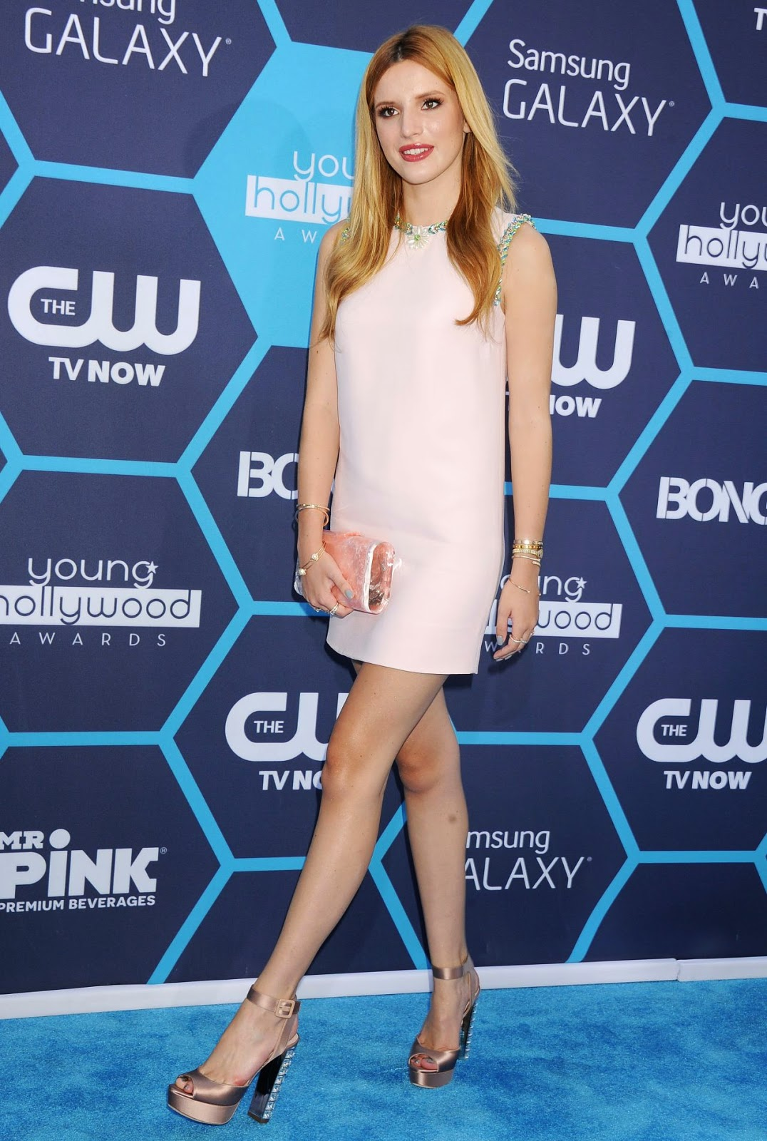 Bella Thorne in a 60s style mini dress at the 2014 Young Hollywood Awards