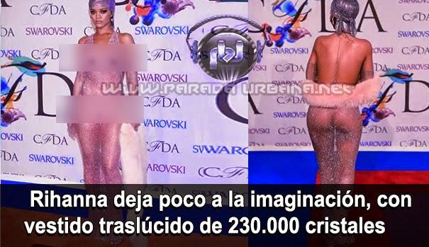 Rihanna deja poco a la imaginacion, con su vestido traslúcido de 230.000 cristales