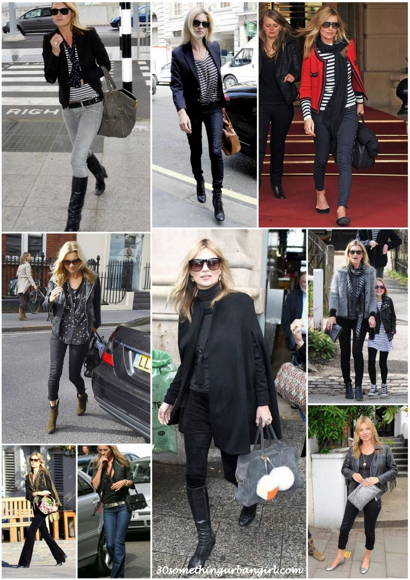 Kate Moss stylish street style black or dark outfits