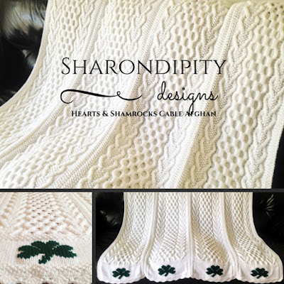 knit, afghan, pattern, irish, hearts, shamrocks, cables, sharondipity, designs