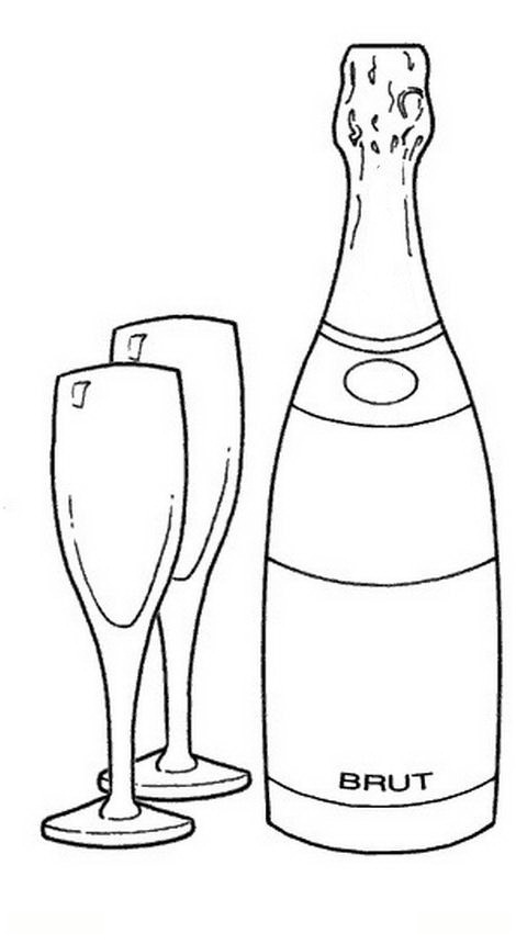 Wine Bottle Glass Drawings And Coloring Pages Wine Bottle Coloring Pages