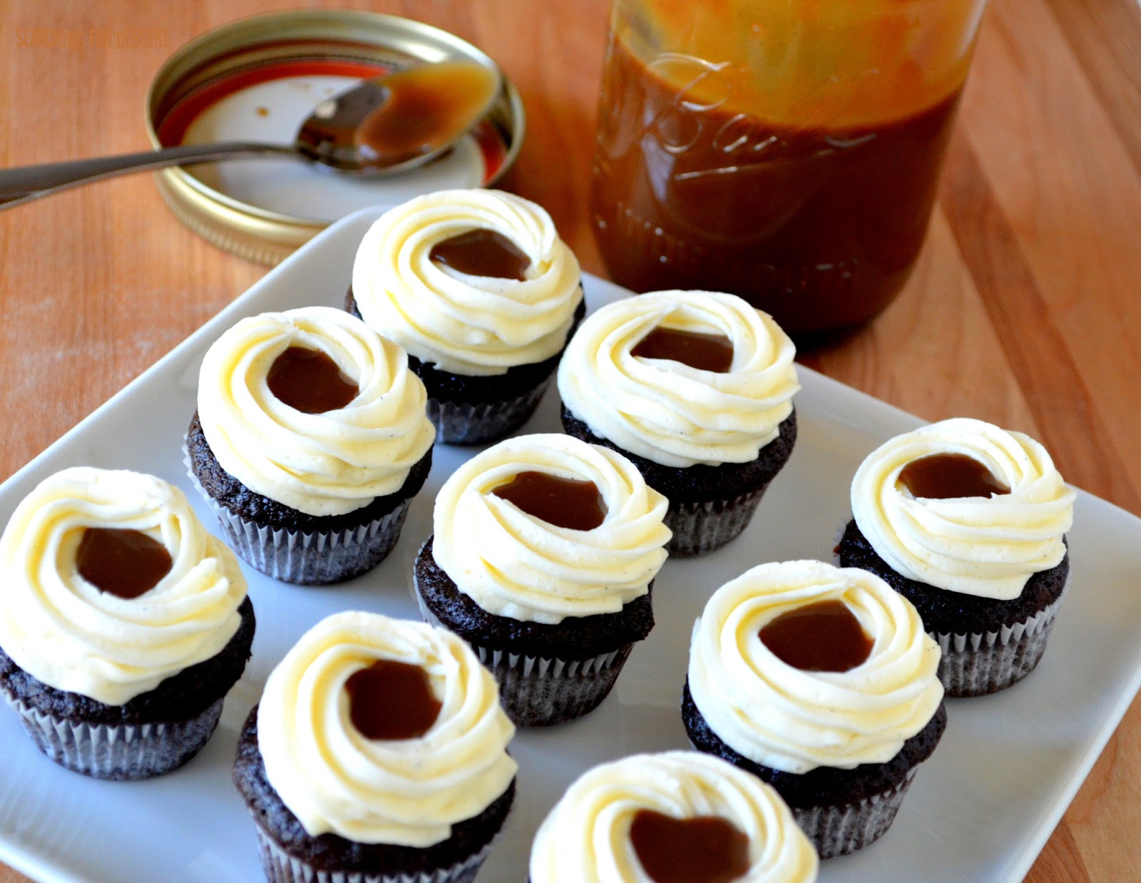 Chocolate Cupcakes with Vanilla Bean Frosting & Caramel | Searching ...