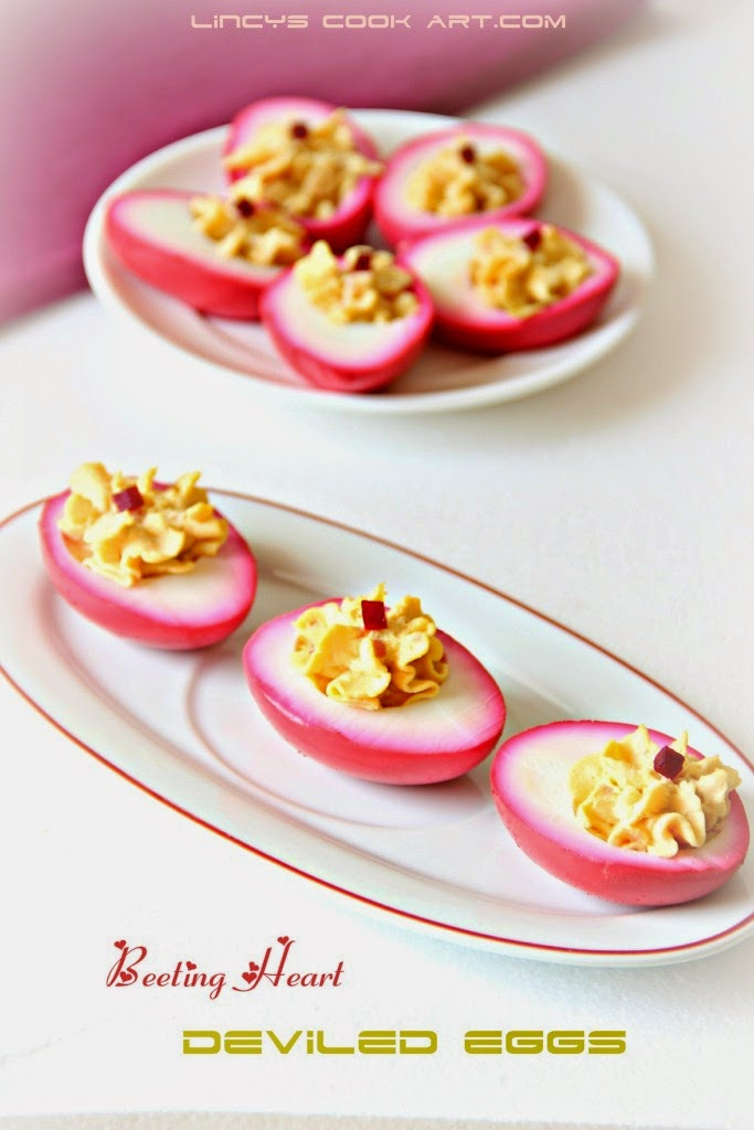 Beetroot Deviled Eggs/ Beeting Heart Deviled Eggs