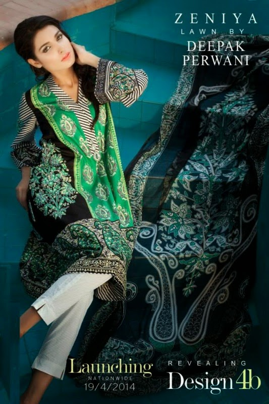 Zeniya Women Summer Lawn Collection 2014 by Deepak Perwani