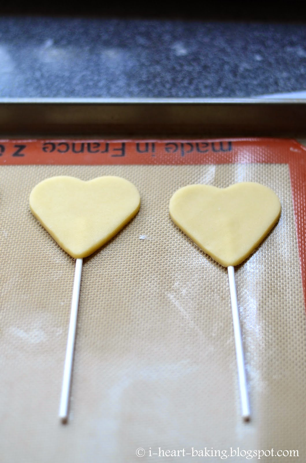 Baking cookies on a stick heart cookie pops on a stick