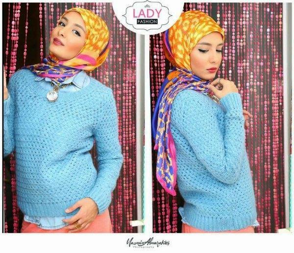 Tampil Keren Kombinasi Cardigan dan Sweater dengan Hijab