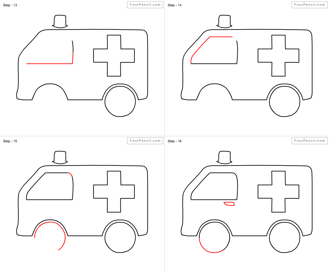 fpencil how to draw ambulance for kids step by step