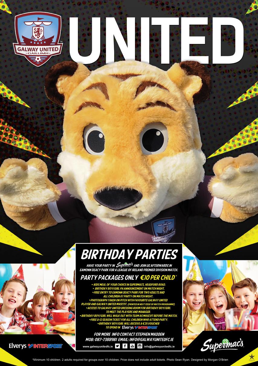 Galway United Birthday Party Flyer - Children's birthday parties galway