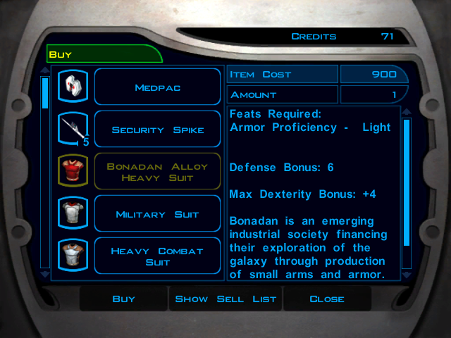 Knights of the Old Republic shop screen