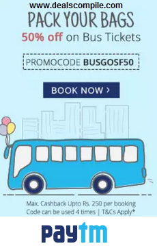 Bus Tickets 50% Cashback at PayTm