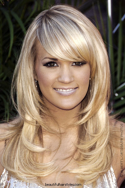 medium layered hairstyles with bangs