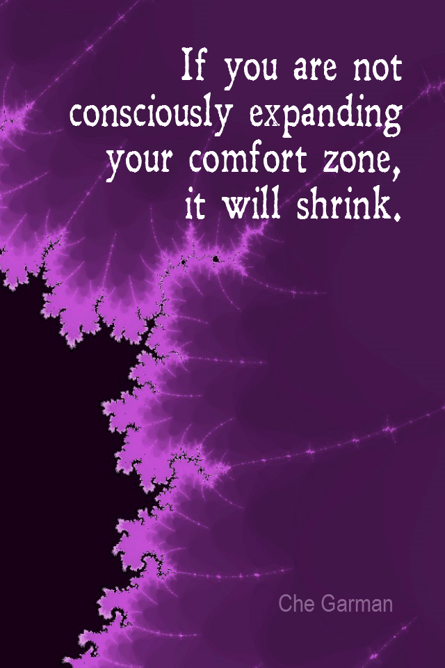 visual quote - image quotation for Self-Improvement - If you are not consciously expanding your comfort zone, it will shrink. - Che Garman