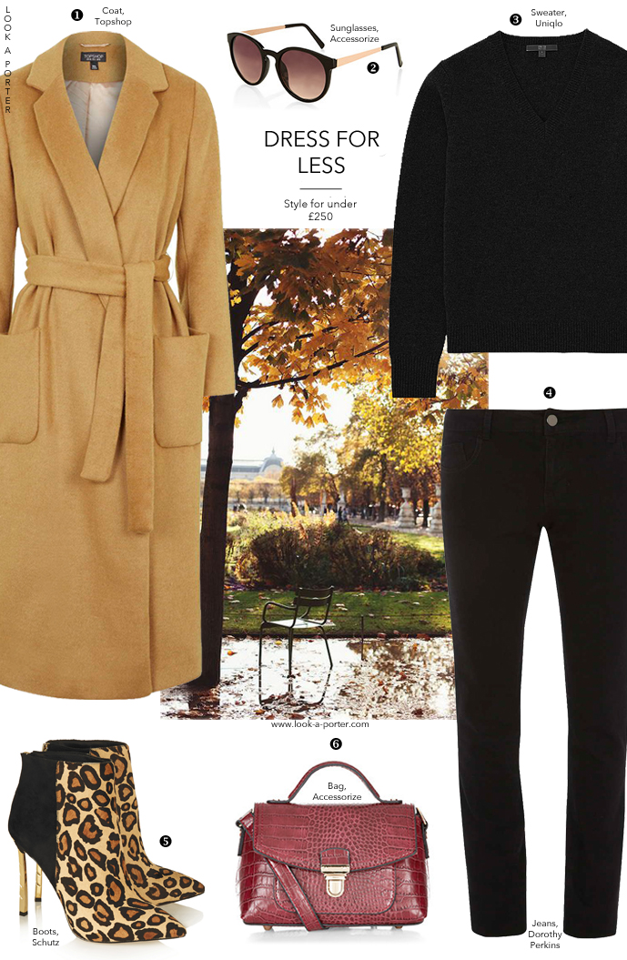 Simple and stylish outfit based around a classic camel coat, all for under £250. Via www.look-a-porter.com, style inspiration delivered daily