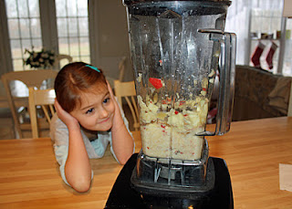 After chewing a piece of apple to start the digestive process, Tessa watched as I blended the rest of the apple with a little water in my Vitamix to illustrate how food turns into mush in our stomachs.