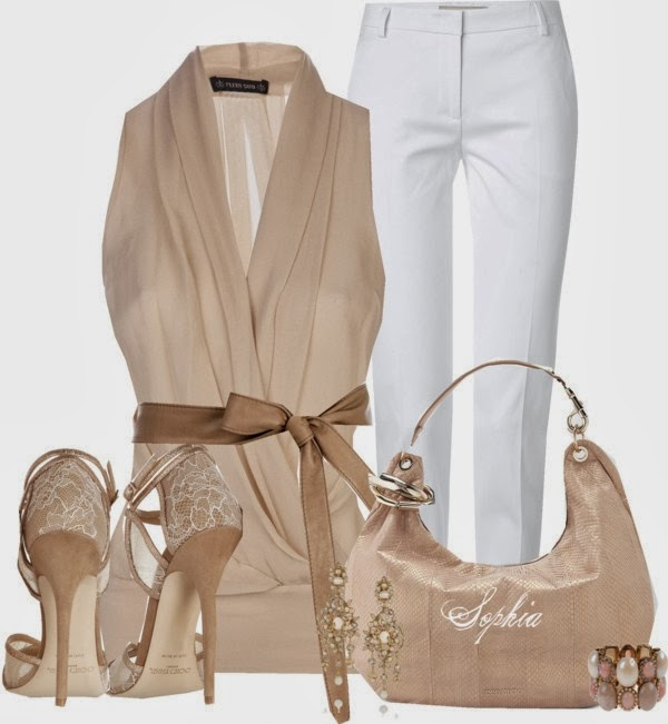 Amazing Fawn colored dress combination - White Pants , Leather Handbag , Adorable High Heels and Fantastic Jacket