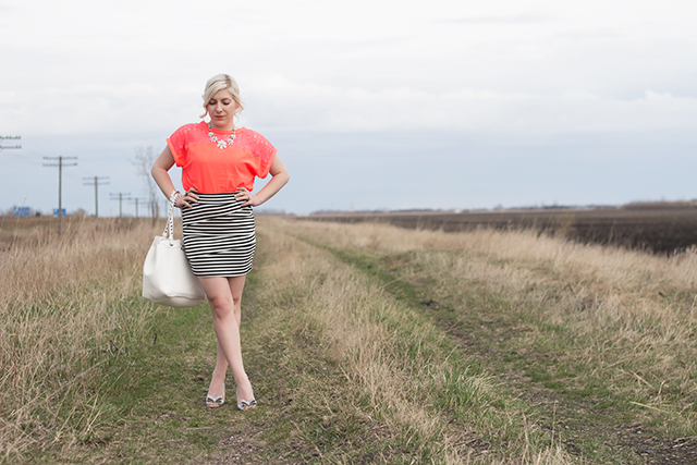 How to wear a striped skirt. Inspiration from a Winnipeg fashion blogger.