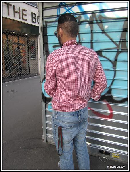 Franck Passerat fashion designer styliste , bretelles DONDUP Milan Jean Topman chemise vichy rouge hommes H&M