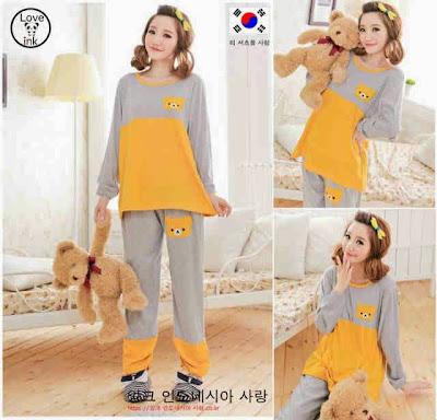 Baju Tidur Piyama Yellow Bear