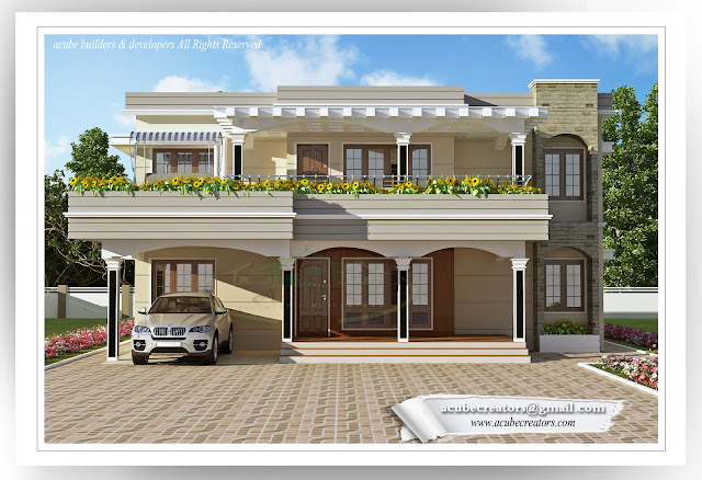 Kerala Flat Villa - 2944 sq.ft. (Plan 157)