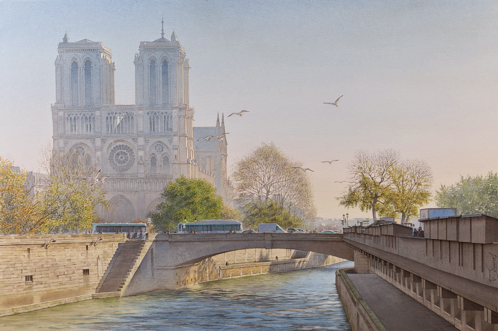 22-Notre-Dame-de-Paris-Thierry-Duval-Snippets-of Real-Life-in Watercolor-Paintings-www-designstack-co