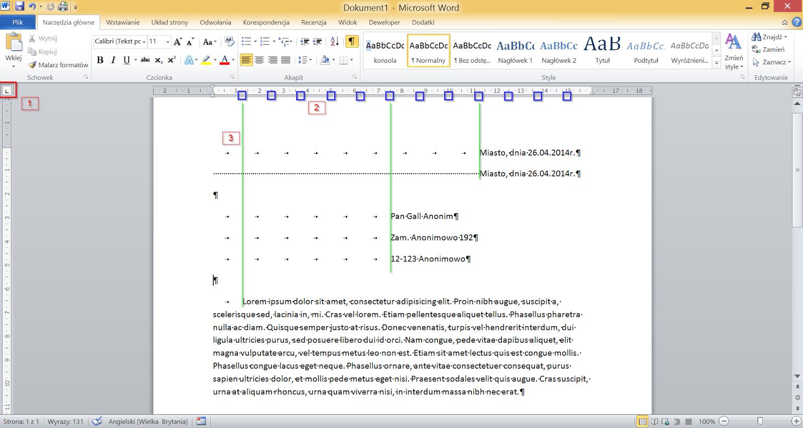 Elementy interfejsu programu Word 2010 powiązane z konfiguracją tabulatorów