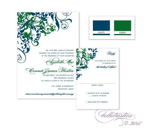 flourish floral swirls swooshes navy green printable diy wedding invitation design