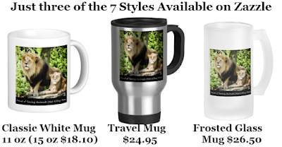 "Three of Zazzle's Popular Mug Styles ""Proud of Saving Animals (Not Killing Them)"" Designed by RoseWrites"