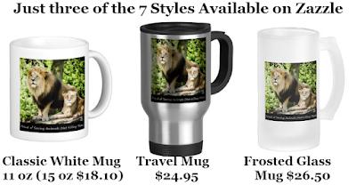 "Three of Zazzle's Popular Mug Styles ""Proud of Saving Animals (Not Killing Them)"" Designed by RoseWrites"