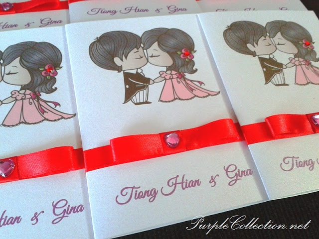 Cartoon Wedding Invitation Cards, wedding cartton invites, classic one fold card, pearl white card, pearl white, pearl white card type, cartoon cards, wedding cards, invitation cards, wedding, invitation, red ribbon, red diamond, tiong hian and gina, tiong hian, gina