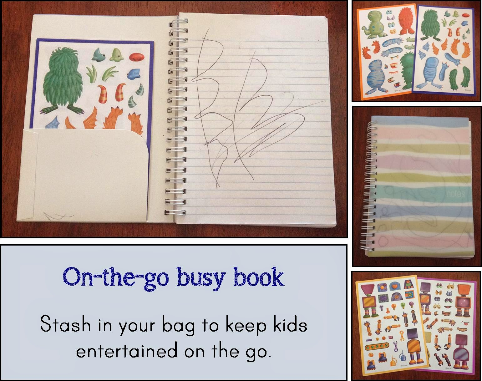 Keep kids entertained at restaurants or out and about with this easy to carry notebook.