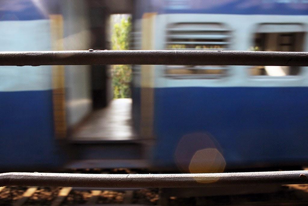 A passing train in Kerala, India
