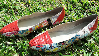 DIY Vintage Decoupage Comic Book Flats on Upcycle Fever