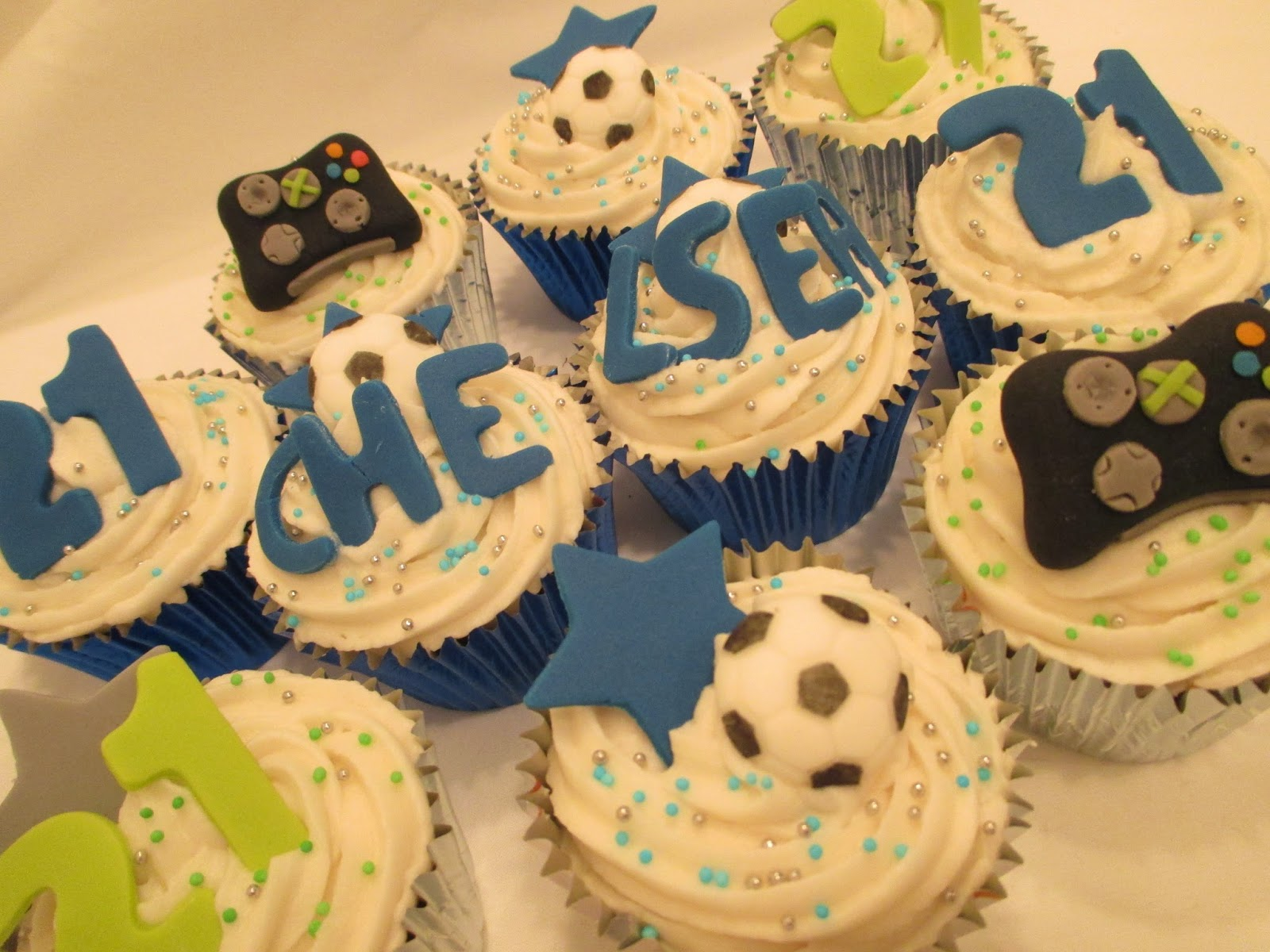21st Birthday Cupcakes For A Chelsea Football And Xbox Fan Sweet