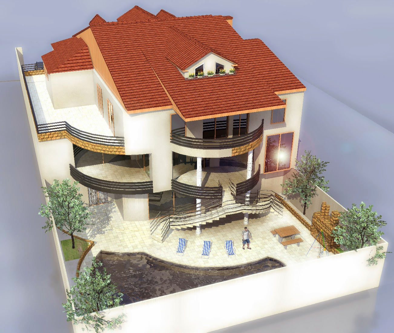 Plan maison en u avec piscine for Maison 3 d