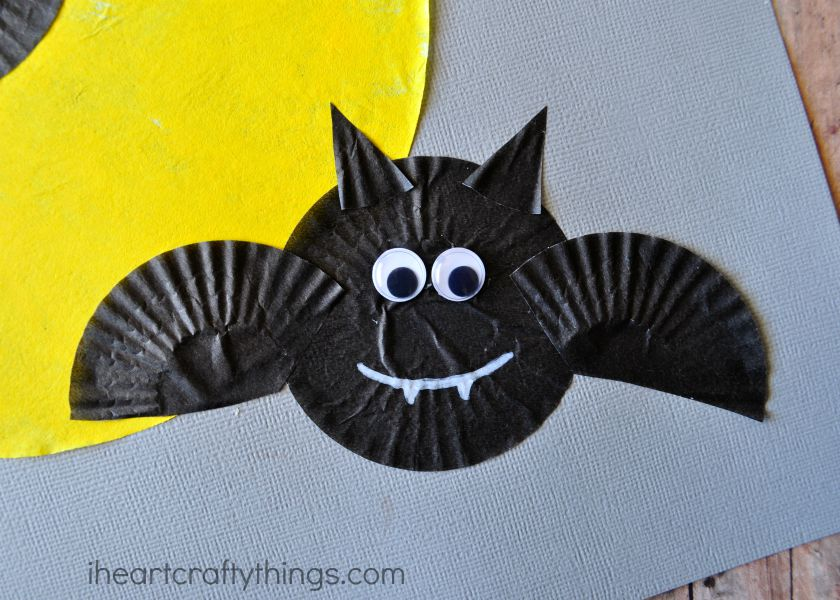 Halloween Craft Part - 44: Cupcake Liner Bats Halloween Craft