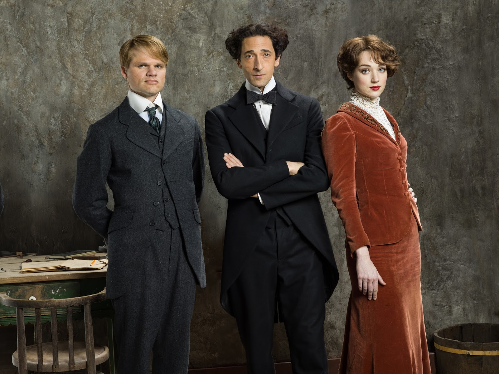 Evan Jones as Jim Collins, Adrien Brody as Houdini, Kristen Connolly as Bess Houdini in HOUDINI Series