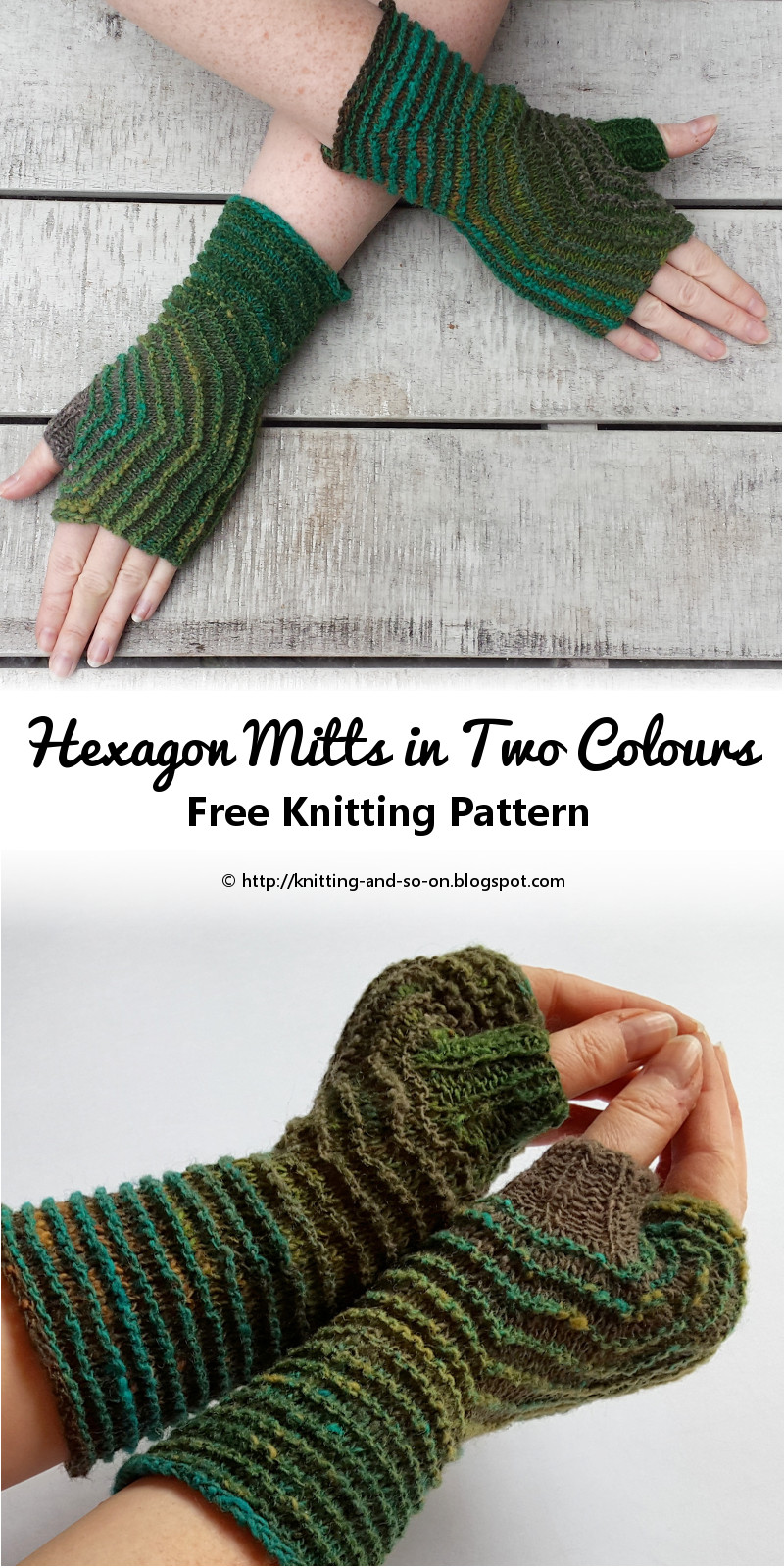 Knitting And So On Hexagon Mitts In Two Colours