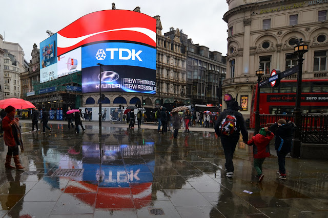 Piccadilly Circus reflected in the rain