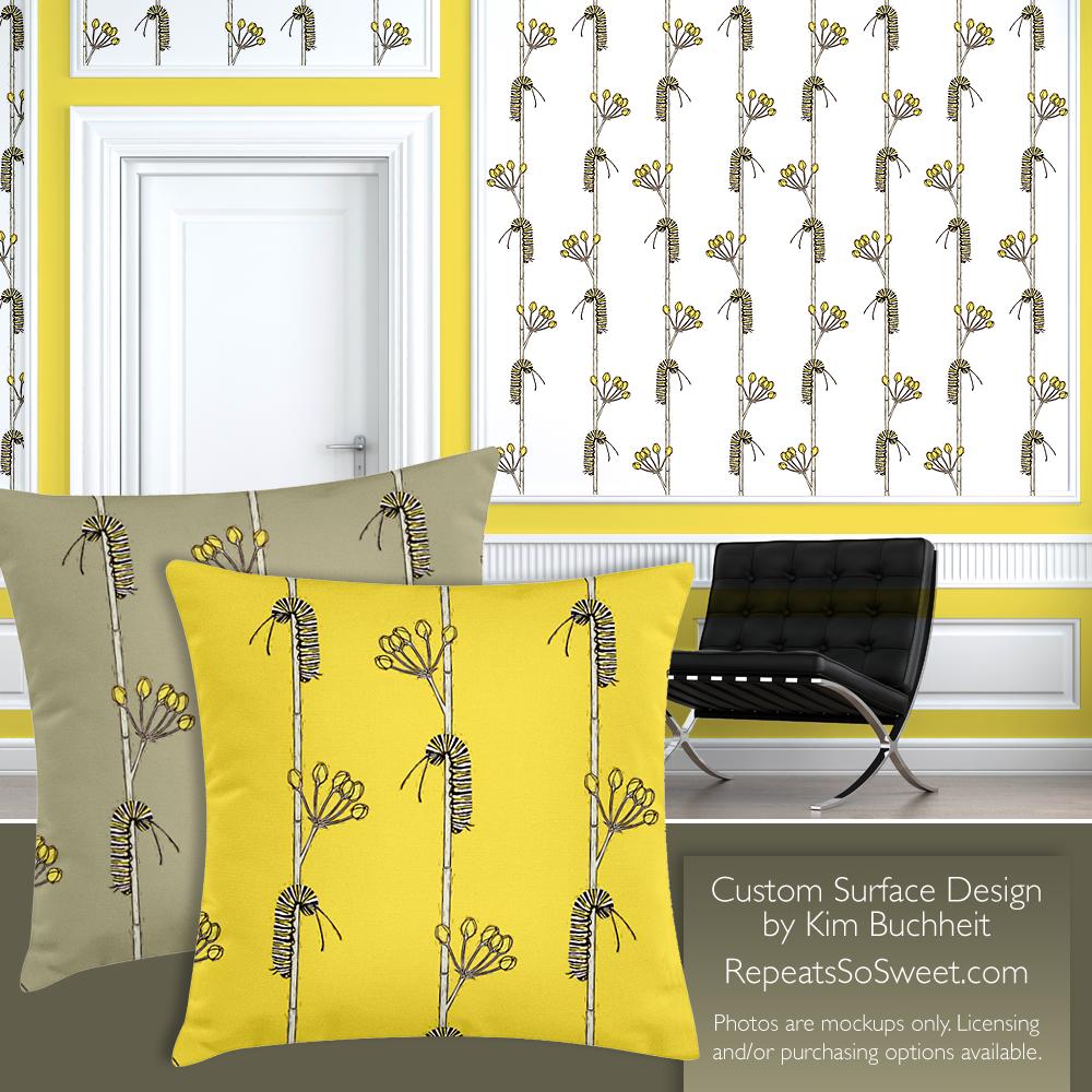 Repeats So Sweet Surface Design Monarch Caterpillar Home Interior