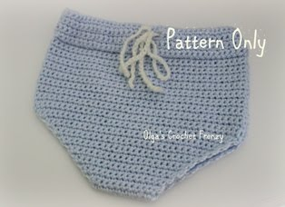 Diaper Cover Crochet Pattern, Size 0-3 Months, $1.85