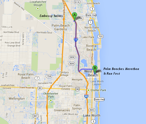 map showing Embassy Suites Palm Beach Gardens is 12 miles/18 minutes from the Palm Beaches Marathon and Run Fest