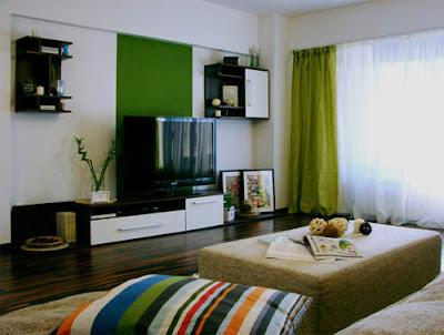 sala con acentos verdes